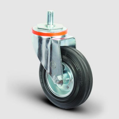 EMES - EM05SPR100 Oynak Civata Bağlantılı Kauçuk Tekerlek Çap:100 Hafif Sanayi Tekerleği Burçlu Oynak Vida Bağlantılı