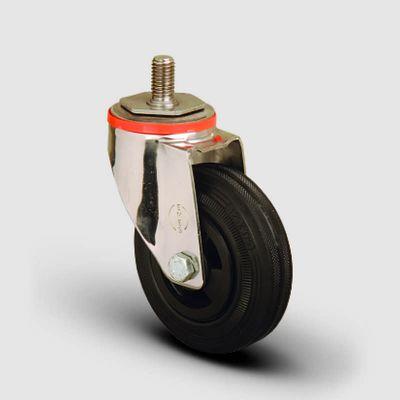 EMES - SSEM05MKR125 Paslanmaz Civata Bağlantılı Kauçuk Tekerlek Çap:125 Inox Hafif Sanayi Tekerleği Burçlu Oynak Vida Bağlantılı