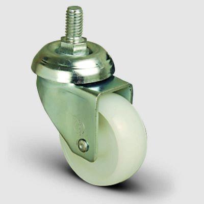 EMES - EP05ZKZ50 Oynak Civatalı Poliamid Tekerlek Çap:50 Hafif Sanayi Tekerleği Oynak Vida Bağlantılı Burçlu Beyaz Kestamit Teker