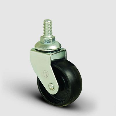 EMES - EB05MKM50 Civatalı Polipropilen Siyah Mobilya Tekerleği Çap:50 Oynak Civata Bağlantılı, Burçlu Sehpa Tekeri