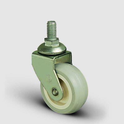 EMES - EB05ZKC50 Civatalı PVC Kaplı Mobilya Tekerleği Çap:50 Oynak Civata Bağlantılı, Burçlu Sehpa Tekeri
