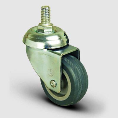 EMES - EP05MKT75 Oynak Civatalı Termoplastik Kauçuk Tekerlek Çap:75 Hafif Sanayi Tekerleği Oynak Vida Bağlantılı Burçlu Gri Kaplı Teker