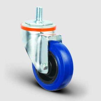EMES - EM05ZMRM125 Oynak Civata Bağlantılı Mavi Kauçuk Frenli Tekerlek Çap:125 Hafif Sanayi Tekerleği Burçlu Oynak Vida Bağlantılı Poliamid Üzeri Mavi Kauçuk Kaplamalı