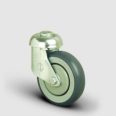 EMES - ES04MBR100 Oynak Delik Bağlantılı Kauçuk Tekerlek Çap:100 Market Arabası Tekerleği Bilya Rulmanlı Polipropilen Üzeri Elastik Kauçuk Kaplı Gri Teker