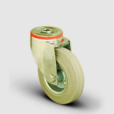 EMES - EM04SPRG100 Oynak Delik Bağlantılı Gri Kauçuk Tekerlek Çap:100 Hafif Sanayi Tekerleği Burçlu Sac Jantlı Gri Kauçuk Kaplamalı