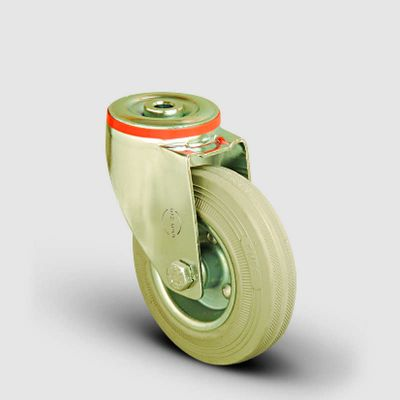EMES - EM04SPRG80 Oynak Delik Bağlantılı Gri Kauçuk Tekerlek Çap:80 Hafif Sanayi Tekerleği Burçlu Sac Jantlı Gri Kauçuk Kaplamalı