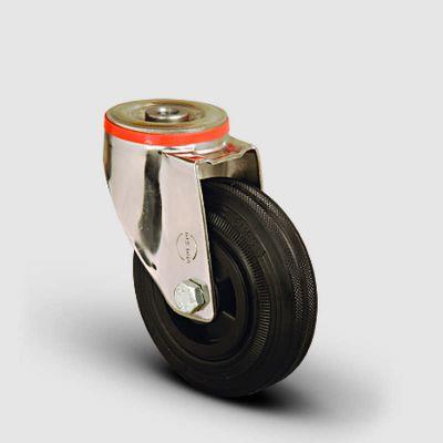 EMES - SSEM04MKR100 Paslanmaz Delik Bağlantılı Kauçuk Tekerlek Çap:100 Inox Hafif Sanayi Tekerleği Burçlu Oynak Delik Bağlantılı