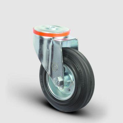 EMES - EM04SPR125 Oynak Delik Bağlantılı Kauçuk Tekerlek Çap:125 Hafif Sanayi Tekerleği Burçlu Sac Jantlı Kauçuk Kaplamalı