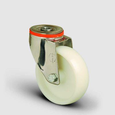 EMES - SSEM04ZKZ125 Paslanmaz Delik Bağlantılı Poliamid Tekerlek Çap:125 Inox Hafif Sanayi Tekerleği Burçlu Oynak Delik Bağlantılı