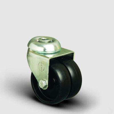 EMES - ET04MKM75 Oynak Delik Bağlantılı Çiftli Moblen Tekerlek Çap:75 Sanayi Tekerleği Burçlu Polipropilen İkili Teker