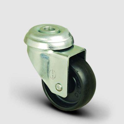 EMES - EP04MKM75 Oynak Delik Bağlantılı Moblen Tekerlek Çap:75 Hafif Sanayi Tekerleği Burçlu Polipropilen Plastik Teker