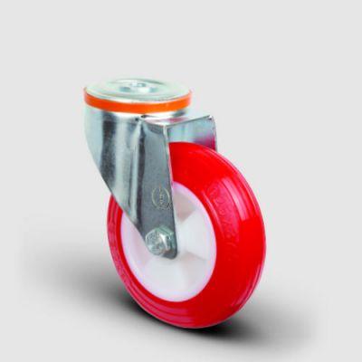 EMES - EM04ZKP100 Oynak Delik Bağlantılı Poliüretan Tekerlek Çap:100 Hafif Sanayi Tekerleği Burçlu Poliamid Üzeri Poliüretan Kaplı Kırmızı Teker