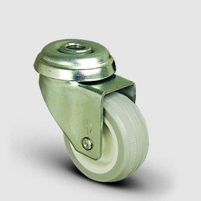 EMES - EP04ZKC75 Oynak Delik Bağlantılı Frenli PVC Tekerlek Çap:75 Hafif Sanayi Tekerleği Burçlu Poliamid üzeri PVC Kaplı Teker