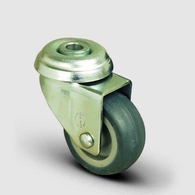 EMES - EP04MKT100 Oynak Delik Bağlantılı Termoplastik Kauçuk Tekerlek Çap:100 Hafif Sanayi Tekerleği Burçlu Gri Kaplı Teker