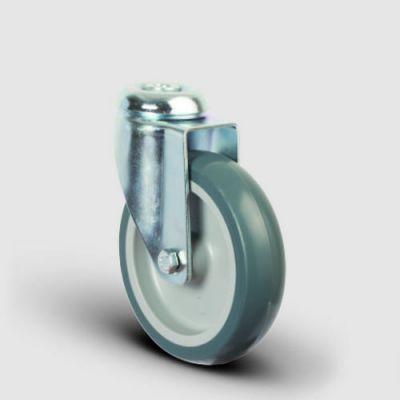 EMES - ER04MKT100 Oynak Delikli Termoplastik Kauçuk Tekerlek Çap:100 Hafif Sanayi Tekerleği Delik Bağlantılı Burçlu Polipropilen Üzeri Termoplastik Kauçuk Kaplı Gri Teker