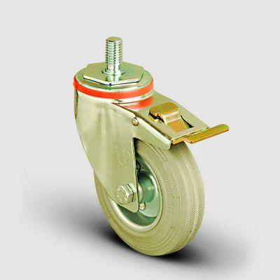 EMES - EM05SPRG150F Oynak Frenli Civata Bağlantılı Gri Kauçuk Tekerlek Çap:150 Hafif Sanayi Tekerleği Burçlu Oynak Vida Bağlantılı