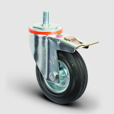 EMES - EM05SPR100F Oynak Delik Bağlantılı Frenli Kauçuk Tekerlek Çap:100 Hafif Sanayi Tekerleği Oynak Frenli Civata Bağlantılı Burçlu