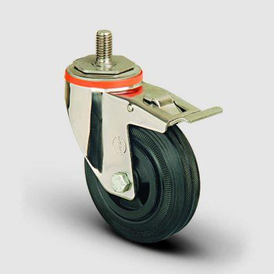 EMES - SSEM05MKR125F Paslanmaz Civata Bağlantılı Frenli Kauçuk Tekerlek Çap:125 Inox Hafif Sanayi Tekerleği Burçlu Oynak Vida Bağlantılı Frenli