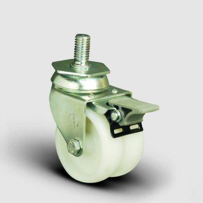 EMES - ET05ZKZ50F Oynak Civatalı Poliamid Tekerlek Çap:50 Sanayi Tekerleği Burçlu Oynak Civata Bağlantılı İkili Teker