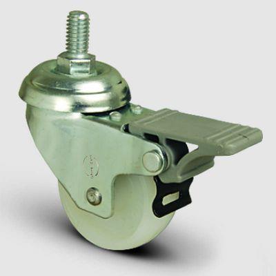 EMES - EP05ZKZ50F Oynak Civatalı Poliamid Frenli Tekerlek Çap:50 Hafif Sanayi Tekerleği Oynak Vida Bağlantılı Burçlu Beyaz Kestamit Teker