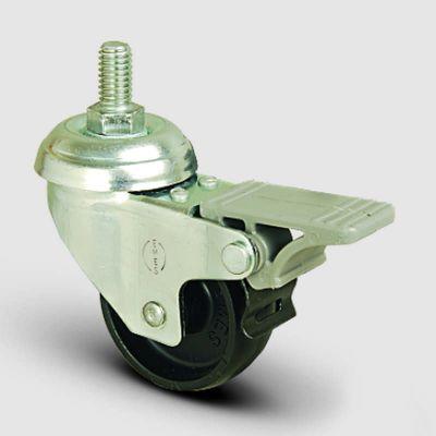 EMES - EP05MKM100F Oynak Civatalı Moblen Frenli Tekerlek Çap:100 Hafif Sanayi Tekerleği Oynak Vida Bağlantılı Burçlu Polipropilen Plastik Teker