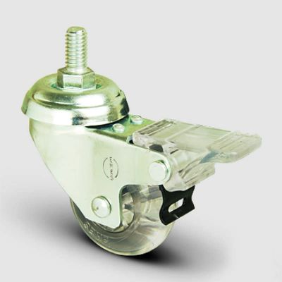 EMES - EP05DKP50F Oynak Civatalı Şeffaf Frenli Tekerlek Çap:50 Hafif Sanayi Tekerleği Oynak Vida Bağlantılı Burçlu Poliüretan Silikon Teker