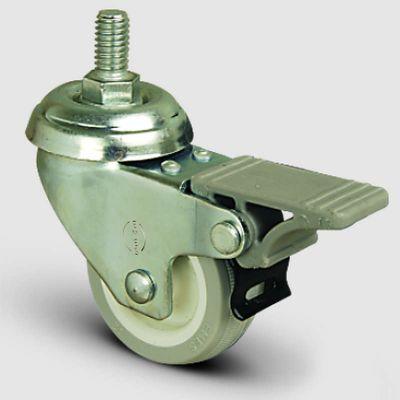 EMES - EP05ZKC75F Oynak Frenli Civatalı PVC Kaplı Tekerlek Çap:75 Hafif Sanayi Tekerleği Oynak Vida Bağlantılı Burçlu Poliamid üzeri PVC Kaplı Teker