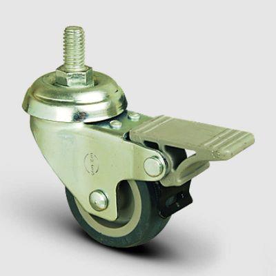 EMES - EP05MKT100F Oynak Civatalı Termoplastik Kauçuk Frenli Tekerlek Çap:100 Hafif Sanayi Tekerleği Oynak Vida Bağlantılı Burçlu Gri Kaplı Teker