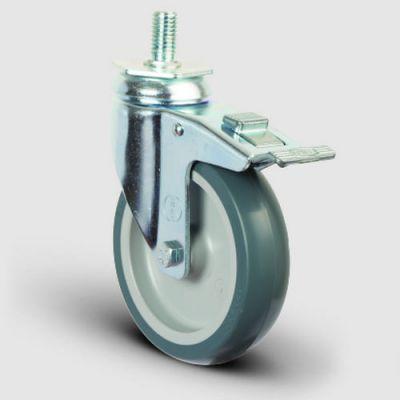 EMES - ER05MKT125F Oynak Civatalı Termoplastik Kauçuk Frenli Tekerlek Çap:125 Hafif Sanayi Tekerleği Oynak Vida Bağlantılı Burçlu Polipropilen Üzeri Termoplastik Kauçuk Kaplı Gri Teker