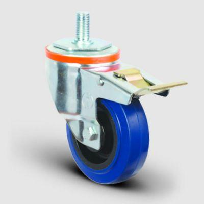EMES - EM05ZMRM125F Oynak Civata Bağlantılı Mavi Kauçuk Frenli Tekerlek Çap:125 Hafif Sanayi Tekerleği Burçlu Oynak Vida Bağlantılı Poliamid Üzeri Mavi Kauçuk Kaplamalı