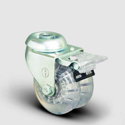 EMES - ET04DKP50F Oynak Frenli Delikli Çiftli Şeffaf Tekerlek Çap:50 Sanayi Tekerleği Burçlu Oynak Delik Bağlantılı Poliüretan Silikon İkili Teker