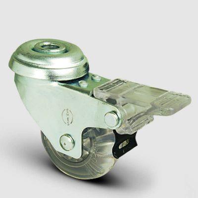 EMES - EP04DBP75F Oynak Delik Bağlantılı Şeffaf Frenli Tekerlek Çap:75 Sanayi Tekerleği Bilya Rulmanlı Poliüretan Silikon Teker