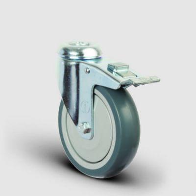 EMES - ER04MBT150F Oynak Delikli Termoplastik Kauçuk Frenli Tekerlek Çap:150 Hafif Sanayi Tekerleği Delik Bağlantılı Bilya Rulmanlı Polipropilen Üzeri Termoplastik Kauçuk Kaplı Gri Teker