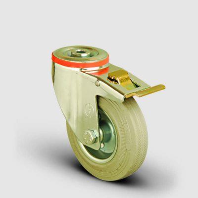 EMES - EM04SPRG150F Oynak Frenli Delik Bağlantılı Gri Kauçuk Tekerlek Çap:150 Hafif Sanayi Tekerleği Burçlu Sac Jantlı Gri Kauçuk Kaplamalı