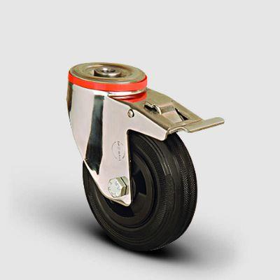 EMES - SSEM04MKR100F Paslanmaz Delik Bağlantılı Frenli Kauçuk Tekerlek Çap:100 Inox Hafif Sanayi Tekerleği Burçlu Oynak Delik Bağlantılı