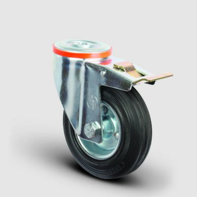 EMES - EM04SPR150F Oynak Frenli Delik Bağlantılı Kauçuk Tekerlek Çap:150 Hafif Sanayi Tekerleği Burçlu Sac Jantlı Kauçuk Kaplamalı