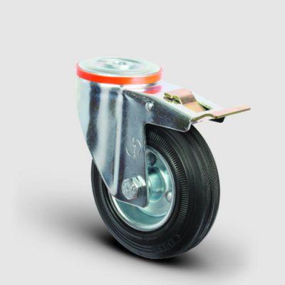 EMES - EM04SPR80F Oynak Delik Bağlantılı Frenli Kauçuk Tekerlek Çap:80 Hafif Sanayi Tekerleği Burçlu Sac Jantlı Kauçuk Kaplamalı