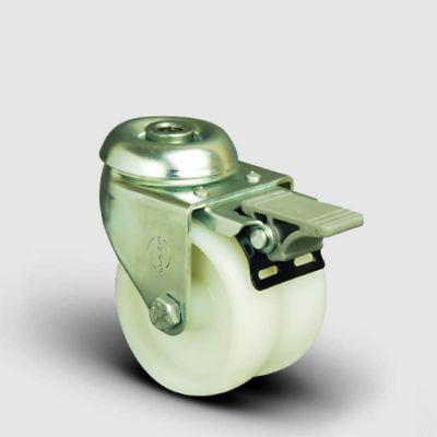 EMES - ET04ZKZ75F Oynak Delikli Çiftli Poliamid Frenli Tekerlek Çap:75 Sanayi Tekerleği Burçlu Oynak Delik Bağlantılı İkili Teker