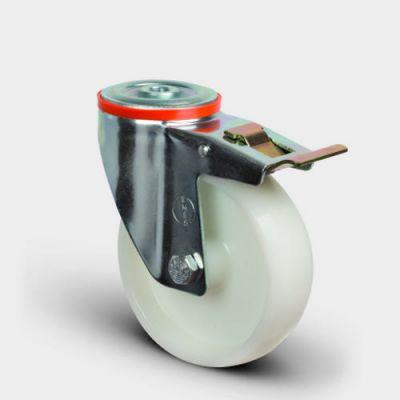 EMES - EM04ZKZ125F Oynak Frenli Delik Bağlantılı Frenli Poliamid Tekerlek Çap:125 Hafif Sanayi Tekerleği Burçlu Beyaz Teker