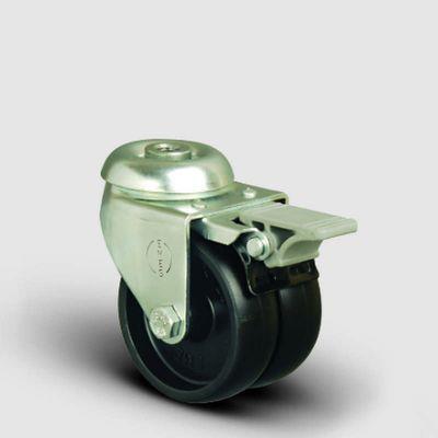 EMES - ET04MKM75F Oynak Frenli Delik Bağlantılı Çiftli Moblen Tekerlek Çap:75 Sanayi Tekerleği Burçlu Polipropilen İkili Teker