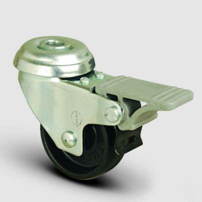 EMES - EP04MKM100F Oynak Delik Bağlantılı Moblen Frenli Tekerlek Çap:100 Hafif Sanayi Tekerleği Burçlu Polipropilen Plastik Teker