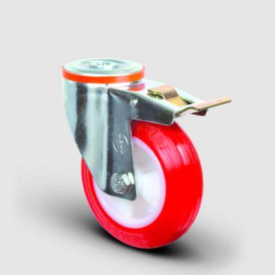 EMES - EM04ZKP100F Oynak Frenli Delik Bağlantılı Poliüretan Tekerlek Çap:100 Hafif Sanayi Tekerleği Burçlu Poliamid Üzeri Poliüretan Kaplı Kırmızı Teker