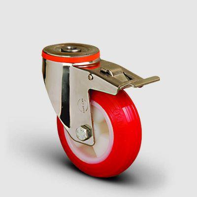 EMES - SSEM04ZKP100F Paslanmaz Delik Bağlantılı Frenli Poliüretan Tekerlek Çap:100 Inox Hafif Sanayi Tekerleği Burçlu Oynak Delik Bağlantılı Poliamid Üzeri Poliüretan Kaplı