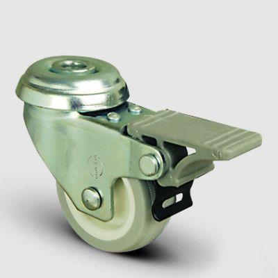 EMES - EP04ZKC75F Oynak Delik Bağlantılı Frenli PVC Tekerlek Çap:75 Hafif Sanayi Tekerleği Burçlu Poliamid üzeri PVC Kaplı Teker