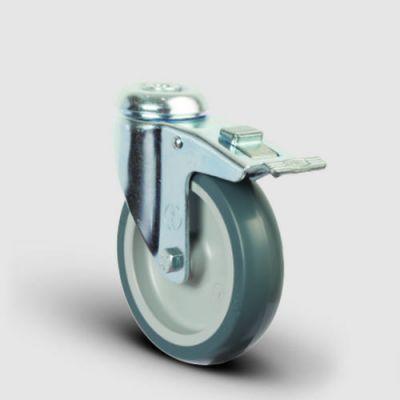 EMES - ER04MKT125F Oynak Delikli Termoplastik Kauçuk Frenli Tekerlek Çap:125 Hafif Sanayi Tekerleği Delik Bağlantılı Burçlu Polipropilen Üzeri Termoplastik Kauçuk Kaplı Gri Teker