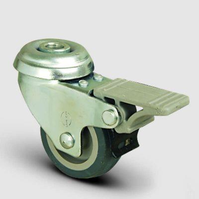 EMES - EP04MKT75F Oynak Delik Bağlantılı Termoplastik Kauçuk Frenli Tekerlek Çap:75 Hafif Sanayi Tekerleği Burçlu Gri Kaplı Teker