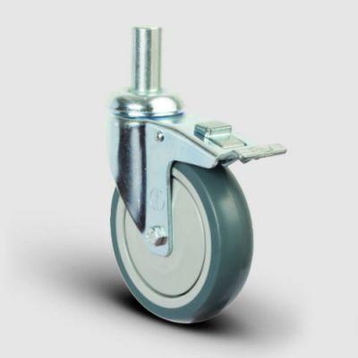 EMES - ER03MBT150F Oynak Pimli Kauçuk Tekerlek Çap:150 Frenli Hafif Sanayi Tekerleği Pim Bağlantılı Bilya Rulmanlı Polipropilen Üzeri Termoplastik Kauçuk Kaplı Gri Teker