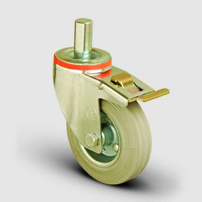 EMES - EM03SPRG125F Oynak Frenli Pimli Gri Kauçuk Tekerlek Çap:125 Hafif Sanayi Tekerleği Burçlu Pim Bağlantılı Sac Jantlı Gri Kauçuk Kaplamalı