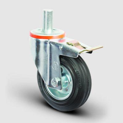 EMES - EM03SPR100F Oynak Frenli Pimli Kauçuk Tekerlek Çap:100 Hafif Sanayi Tekerleği Burçlu Pim Bağlantılı Sac Jantlı Kauçuk Kaplamalı