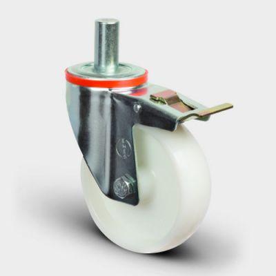 EMES - EM03ZKZ125F Oynak Frenli Pimli Poliamid Tekerlek Çap:125 Hafif Sanayi Tekerleği Burçlu Pim Bağlantılı Teker